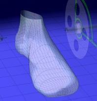 コンピュータ上に靴型を作成